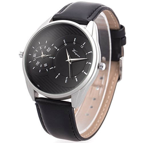 Wrist Watch Mens Dual Zone Double Movement Japanese Quartz SIBOSUN Black Silver Waterproof Leather Analog