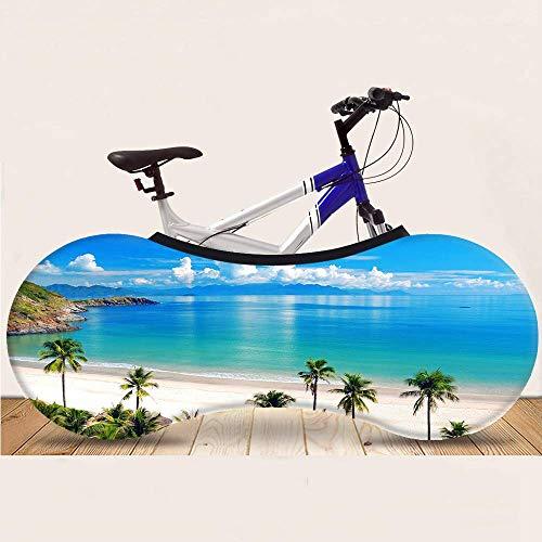 WYBD.Y Funda Universal para Bicicletas, la Mejor solución de la Serie Beach para Mantener los Pisos y Las Paredes Libres de Suciedad Se Adapta al 99% de Todas Las Bicicletas para Adultos, Paisaje B