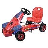 Hauck Go-Kart / Karting à Pédale pour Enfants avec Carrosserie Marvel Spiderman - Voiture à Pédales à une Vitesse, Siège Réglable, Frein à Main, Roues Profil en Caoutchouc - Bleu/Rouge