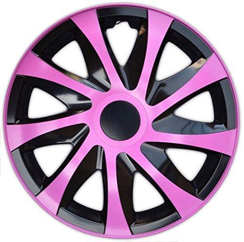 4 X Radabdeckungen Radkappensatz DRACO CS in 14 ZOLL Schwarz-Pink Farbe
