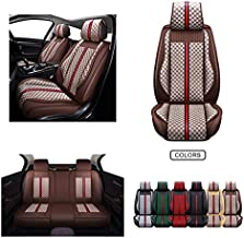OASIS AUTO Leather & Fabric Car Seat Covers Faux Leatherette Automotive Vehicle Cushion Cover for Cars SUV Pick-up Truck Universal Fit Set for Auto Interior Accessories (OS-007 Full Set, Brown)