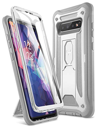 YOUMAKER Kickstand Case for Galaxy S10 Plus, Built-in Screen Protector Work with Fingerprint ID Full Body Heavy Duty Protection Shockproof Cover for Samsung Galaxy S10+ Plus 6.4 inch (2019) - White