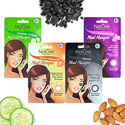 Facial Mud Mask Set of 5 - Exfoliating, Deep Cleansing, Clarifying, Pore Minimizer, Hydrating Face Mask Set Aromatherapy, Cucumber, Apricot/Almond, Dead Sea, Charcoal Face Peel