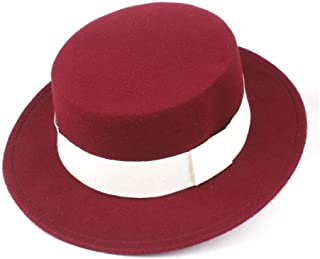 HaiNing Zheng Authentic Men Women Fashion Flat Top Hat Wide Brim Fedora Hat Church Hat Wool Trilby Fascinator Hat Size 56-58CM