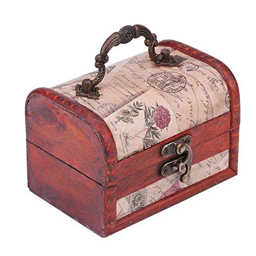 Caja de joyería de madera Cofre de almacenamiento, Madera V