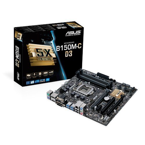 Asus B150M-C D3 Mainboard Sockel 1151 (µATX, Intel B150, 4x DDR3 Speicher, 6x SATA 6Gb/s, 4x USB 3.0, 2x USB 2.0, PCIe 3.0)