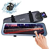 Backup Camera 10' Mirror Dash Cam, Dash Cam Front and Rear Full Touch Screen 170 Degree Streaming Video Rear View Waterproof Mirror Camera, G-Sensor Parking Monitor