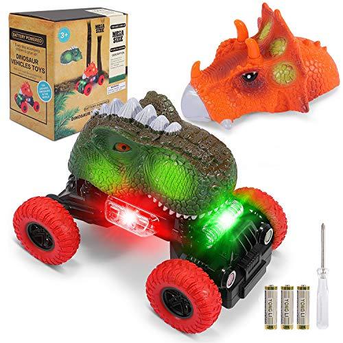 joylink Dinosaurio Coche, Juguetes de Dinosaurios Coche con Luces LED y Sonido Realista Dinosaurio Juguete Coche Regalos de Cumpleaños para Niños Juguetes Niños de 3-8 Años (Grande)
