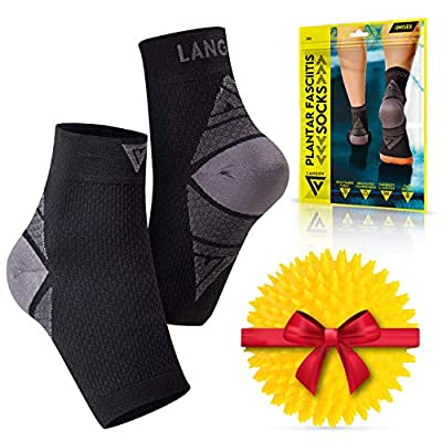 Langov Plantar Fasciitis Support Brace (Pair) – Compression Nano Socks for Men & Women - Wrap for The Ankle, Foot, Arch & Heel, Sleeve Relieves Pain, Neuropathy (Black, Large)