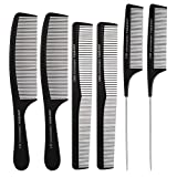 6 Stücke Friseur Haar Kamm Set, Haarschneide kämme Nadelstielkamm Carbon Kamm Hair Styling Kämme...