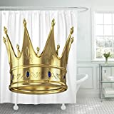 PAUSEBOLL Blue King Gold Crown Red Queen Royal Golden Princess Duschvorhang Badezimmer mit Haken, wasserdichter Polyester-Vorhang