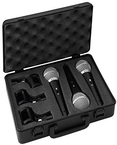IMG STAGELINE DM-3S dynamische Mikrofone speziell für Gesangs-Stimmen, 3er-Set Sprach-Verstärker mit Nieren-Charakteristik inkl. Hartschalen-Koffer und 3 x Stativ-Klemmen, in Schwarz