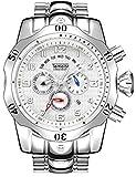Relojes de cuarzo para hombre, calendario luminoso, correa de acero, reloj de cuarzo, resistente al agua, cronógrafo, reloj de negocio, color blanco plateado