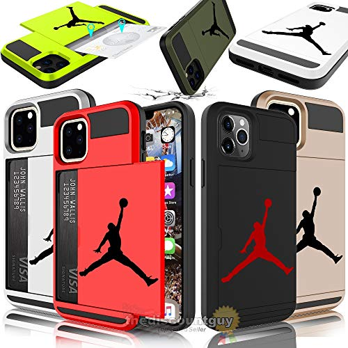 iPhone XR - Dual-Layered Credit Card ID Storage Basketball Michael Jordan Compartment Phone Case to Store Money Cash with Slide Wallet Jumpman Air Protective Cover (Black & Blue)