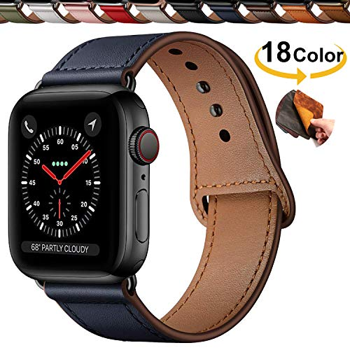 Qeei Compatible with Apple Watch 42mm 44mm,Innovative Cinturino in Vera Pelle Covert Buckle Ensure Clean Fit Band Replacment for iWatch Series 5 4/3/2/1,Dark Blue