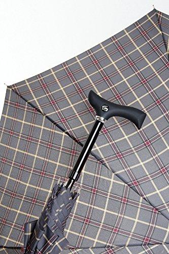 DESIGNER Automatik Schirm GEHHILFE GREY KARO GEHSTOCK für modebewusste Senioren