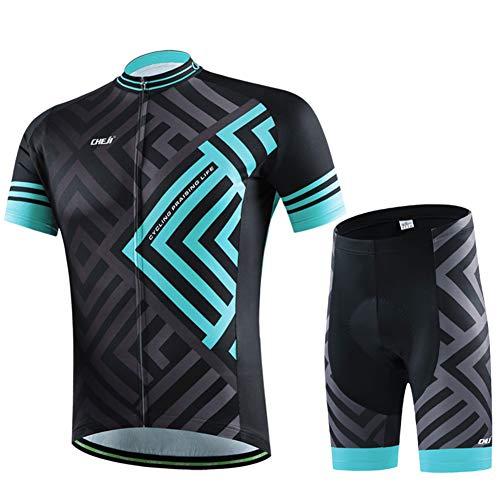 SKYSPER Radtrikot Herren Kurzarm Fahrradbekleidung Set Outdoor Sports Radfahren Jersey + Radfahren Latzhose Shorts im Sommer