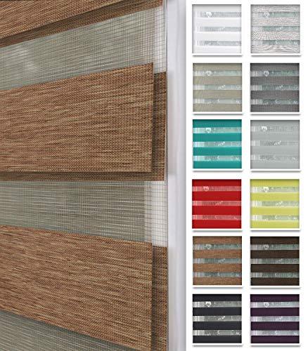 Home-Vision® Duo Rollo nach Maß, Doppelrollo ohne Bohren mit Klämmträgern, Rollos für Fenster und Türen (Holzlook Gold, B96-100cm x H150cm)