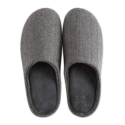 KIKIGO Zapatillas casa Divertidas,Zapatillas de casa de Hombre silenciosas y cálidas de algodón para otoño e Invierno, y Pantuflas Suaves y cálidas para Uso doméstico en Invierno.-Gris_42