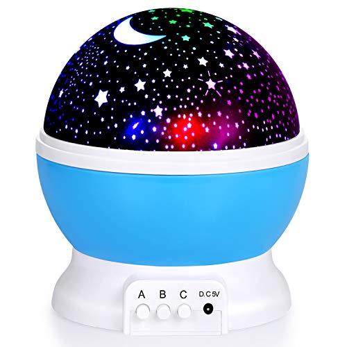 Sunnest Proyector de cielo estrellado para bebés, luz nocturna LED giratoria 360°, lámpara de proyección romántica LED perfecta para fiestas, habitaciones infantiles, regalo de Navidad