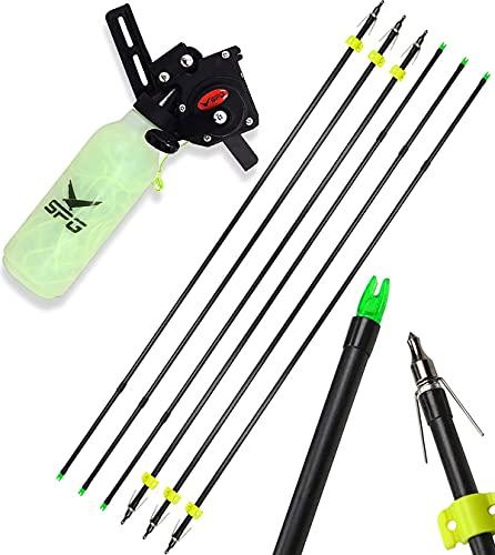 XIXILI Archery Bow Fishing Reel 131 Ft Rope and 6pcs Bowfishing Arrow Bowfishing Tool Accessories Fishing Rope Fishing Arrows Kit for Compound Bow Recurve Bow Fishing Hunting Accessories (Black)