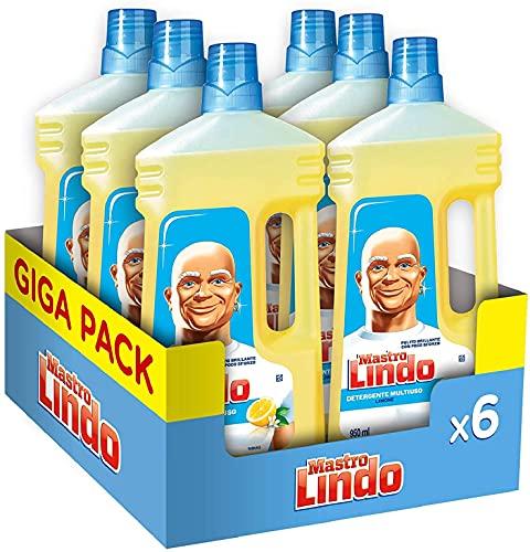 Mastro Lindo Detersivo Lavapavimenti, Liquido Multiuso, 6 Confezioni (6 x 950 ml), Limone, Maxi...