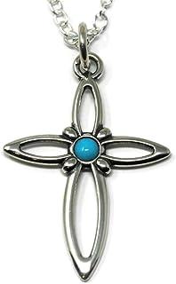 Sleeping Beauty Turquoise Cross Necklace