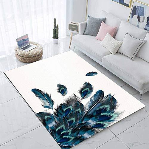 VGFGI White floor green blue peacock feather 3d printing non-slip microfiber living room modern carpet washable area carpet mat