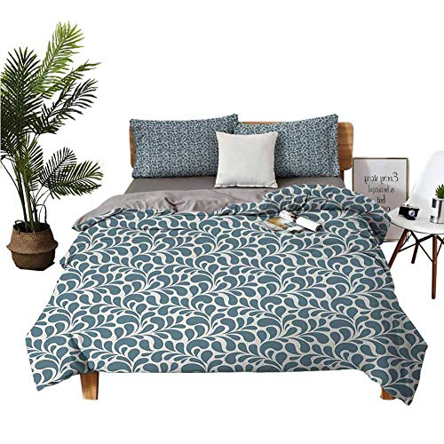 DRAGON VINES 4pcs Bedding Set Sheet Set Sheets Cotton Dark Colored Leaves with Curvy Swirly Design Nature Inspired Ornament Slate Blue Pale Grey Boy Girl Kid W90 xL90