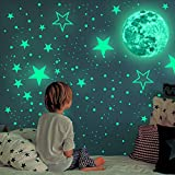 Glow in The Dark Stickers - 433pcs Glow in The Dark Stars for Ceiling 3D Glow Stars Ceiling Stars Wall Stickers for Kid Moon and Stars Nursery Decor for Bedroom Room