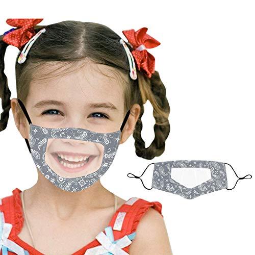 Shulky Kinder Schutzmund Transparente Nase Visuelle Leselippen Sprachhörbehinderung Wiederverwendbar Verstellbares Ohrband MundStoff Gesichtsvisier(Paisley drucken,1PC)