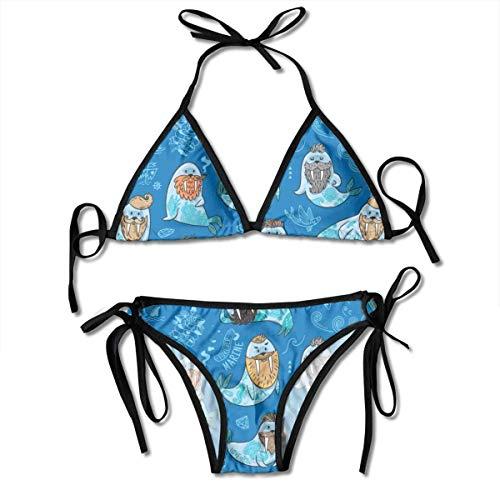 Swimsuit Walrus with Mustache and Tattoo Womens Wrap Top Bottom Bathing Suit Bikini Swimwear Two Piece Swimsuit