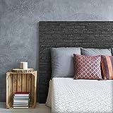 MEGADECOR Cabecero Cama PVC Decorativo Económico Textura Ladrillo Negro o Muro Oscuro Varias Medidas (100 cm x 60 cm)