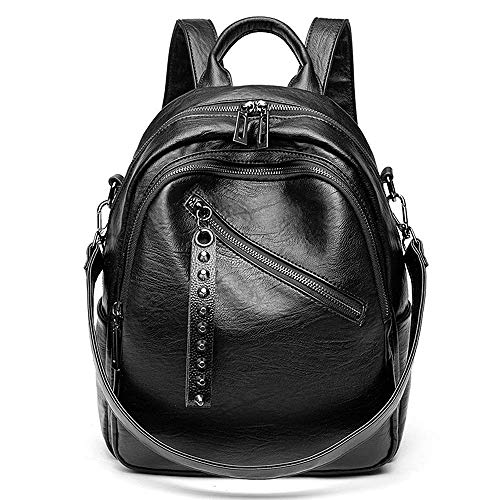 Damen Rucksack Schafsleder - Daypack Schule Lässiger Rucksack 2 in 1 als Rucksack und Schultertasche, Backpack mit Nieten Leichte Große Kapazität Mehrere Taschen, für Arbeit Schule und Reise (schwarz)