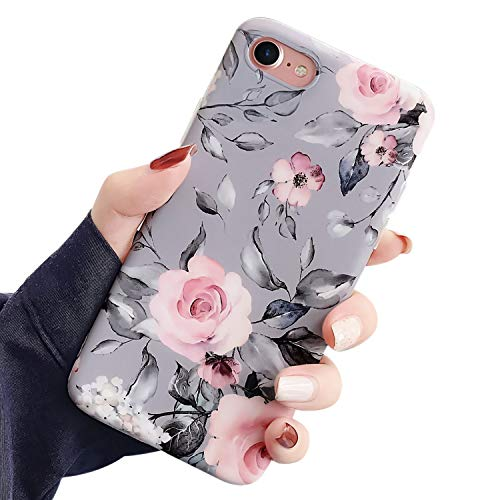 Ownest Compatible with iPhone SE 2020 Case, iPhone 7 Case,iPhone 8 Case with Pink Floral and Gray Leaves for Girls Woman Leaves with Flowers Soft TPU Protective for iPhone SE 2020/7/8-Pink Flowers