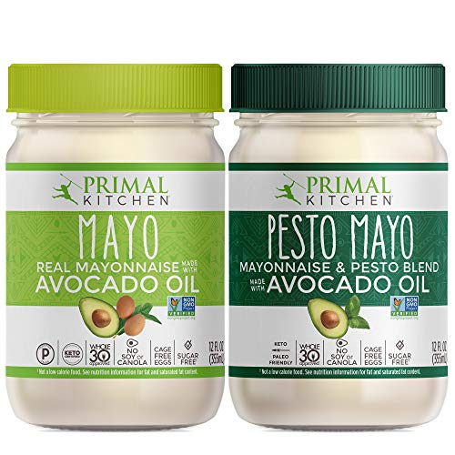 Primal Kitchen Avocado Oil Mayo Variety Pack - Includes 1 Original and 1 Pesto, Gluten and Dairy Free, Whole30 and Paleo Approved (12 oz) - Two Pack