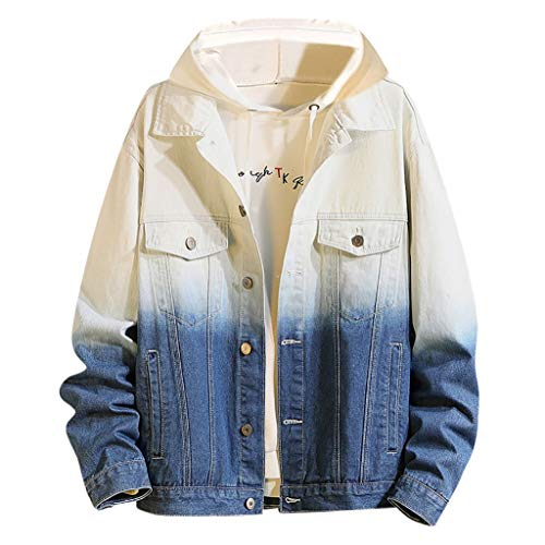 MAYOGO Übergangsjacke Herren Denim Jacke Mode Farbverlauf Freizeitjacke Winterjacke Jeans Jacke