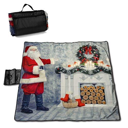 Olie Cam Christamasl Santa Claus, der am Kamin Steht Picknickdecke mit wasserdichter Picknickmatte für den Außenbereich
