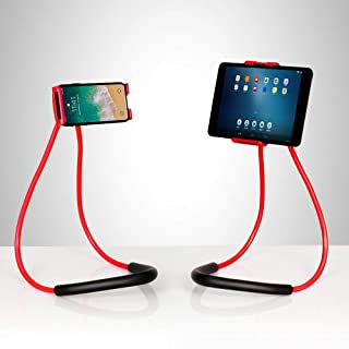 NEX Lazy Cell Phone Holder Stand 360 Rotating Hanging on Neck Cell Phone Mobile Mount Holder Lazy Bracket DIY Free (Red)