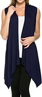 Cardigans Women Solid Color Sleeveless Asymetric Hem Open Front Drape Long Cardigan Vest