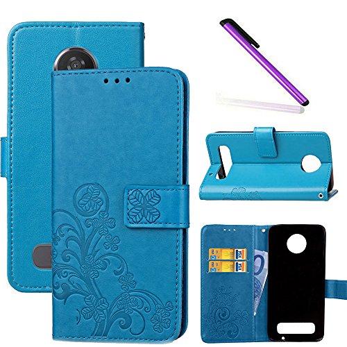 COTDINFOR Motorola Moto Z2 Play Hülle für Mädchen Elegant Retro Premium PU Lederhülle Handy Tasche im Bookstyle mit Magnet Standfunktion Schutz Etui für Motorola Moto Z2 Play Clover Blue SD.