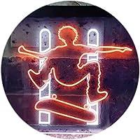 Skateboard Jump Game Room Illuminated Dual Color LED看板 ネオンプレート サイン 標識 白色 + オレンジ色 600 x 400mm st6s64-i0794-wo