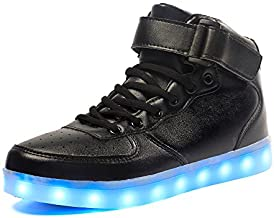 Voovix Kids LED Light Up Shoes USB Charging Flashing High-top Sneakers for Boys and Girls Child Unisex(Black,US3.5/CN36)