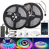 Tiras de luces LED iFi Dreamcolor, 10 m (2 * 5), impermeables, IP65 RGB 5050, 300 * 2 leds, barras de luces, sincronizadas con música, compatibles con Alexa, cinta de efecto de persecución multicolor