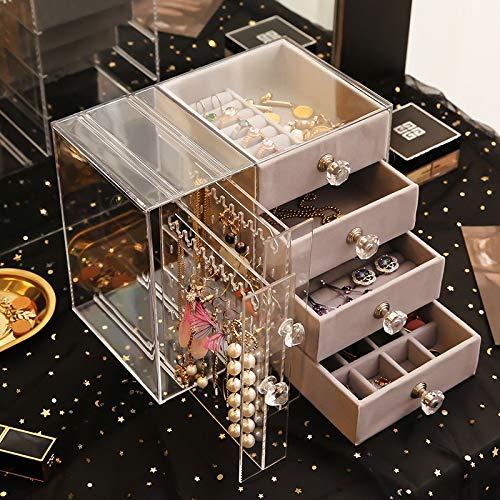 MIDUO - Caja de almacenamiento para pendientes, collares, pendientes, collares, pendientes, joyeria y pendientes de acrilico transparente