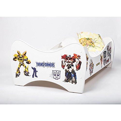 Bebegavroche Pack 8en1 Lit Junior Transformers avec Matelas + Oreiller + Couette + Taie+ Housse de Couette +Drap Housse
