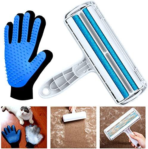 BOZHZO Fusselbürste und Haustier Bürsten Handschuh, Fusselrolle für Haustierhaar, Wiederverwendbarer Doppelseitiger Handschuh, Effektiv für Kleidung und Möbel, Bettwäsche, Couch, Teppich und mehr