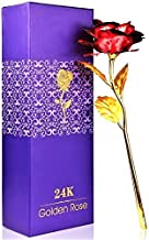 Globle Creations 24K Red & Golden Rose with Gift Box and A Nice Carry Bag - Best Gift to Express Love On Valentine's Day, Rose Day Or Decor Purpose