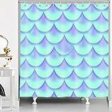 RHDORH YLLMDO120 Duschvorhang, Meerjungfrau, blaue Perle, Fischschwanz, Ozean, Fee, Prinzessin, Fantasie, Elfe, bunt, geometrisches Polyestergewebe, wasserdicht, Badvorhang-Set mit Haken, 183 x 183 cm