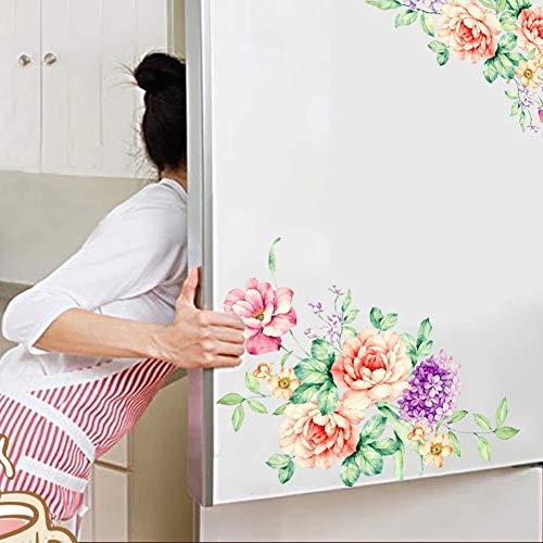 PiniceCore Flores de Colores en 3D Pegatinas de Pared Hermosa peonía Nevera Pegatinas Armario Aseo Baño Decoración PVC Adhesivos de Pared/Adhesivo